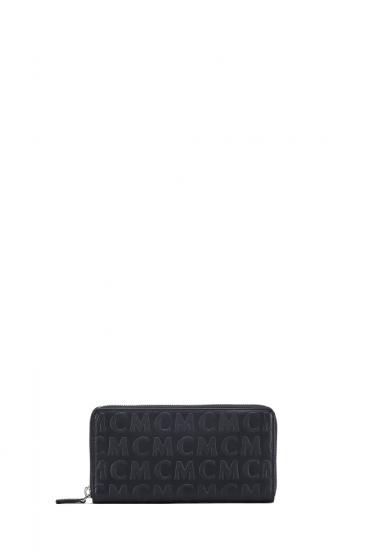 Damen Geldbörse Monogram Leather Zipped Wallet L Schwarz