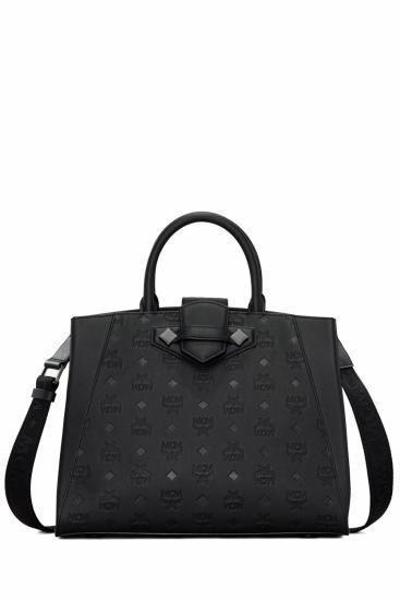 Damen Handtasche Essential Monogrammed Schwarz