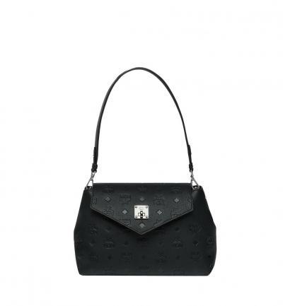 Damen Umhängetasche Essential Monogrammed Leather SML Schwarz