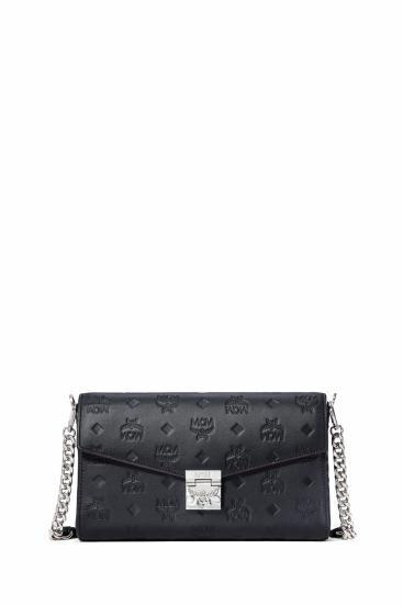 Damen Umhängetasche Millie Monogrammed Leather MED Schwarz