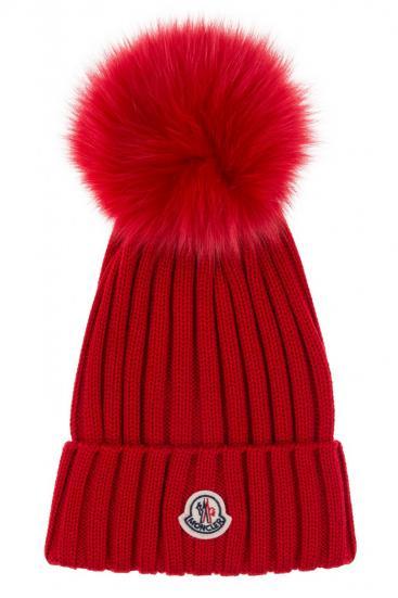 Damen Strickmütze mit Fellbommel Rot
