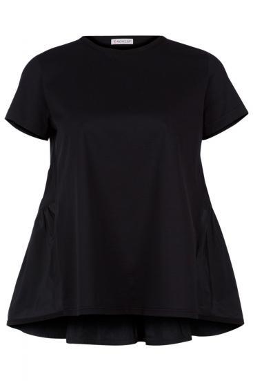 Damen T-Shirt mit Schößchen Schwarz