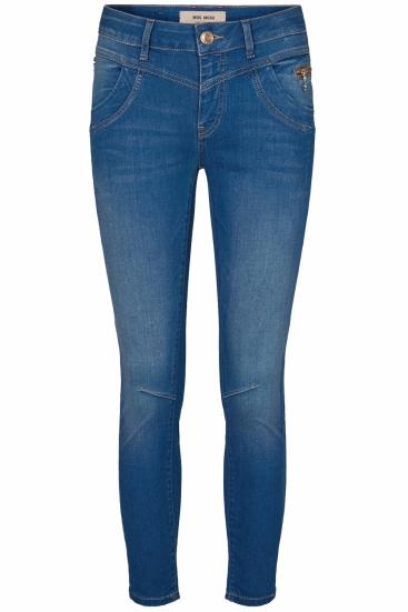 Damen Sharon Split Satin Jeans Dark Blue