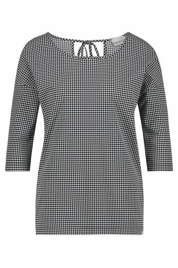 Damen Shirt mit Punktemuster Schwarz/Weiss