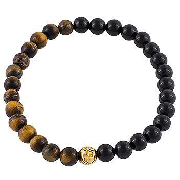 Herren Armband Onyx, Tigerauge Braun