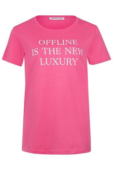 """Damen T-Shirt """"Offline is the new Luxury"""" Pink"""