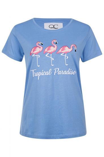 "Damen T-Shirt ""Tropical Garden"" Blau"