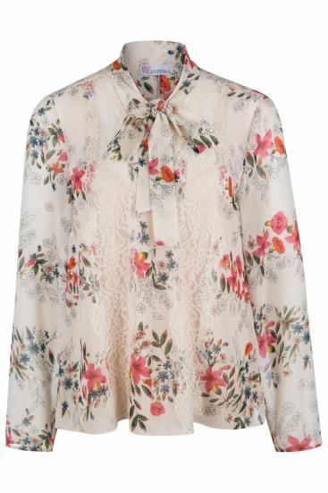 Damen Bluse mit Floralprint Beige