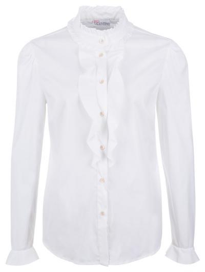 Damen Bluse mit Rüschenbesatz Weiss