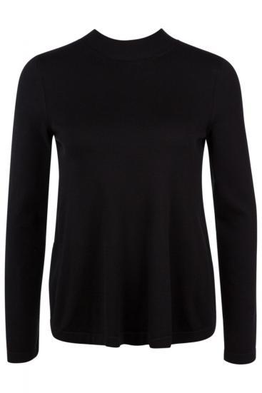 Damen Pullover mit Tülleinsatz am Rücken Schwarz