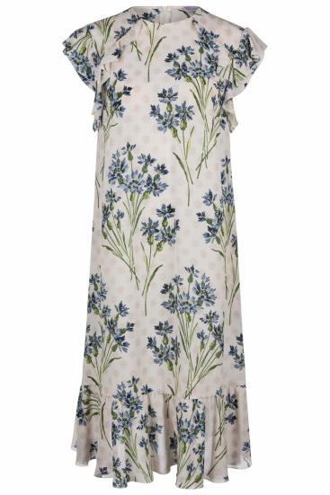 Damen Seidenkleid mit Blütenprint Beige/Blau