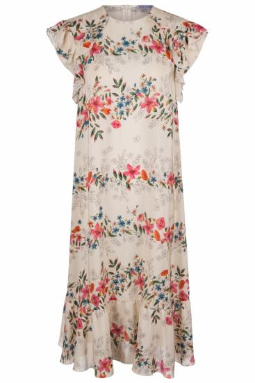 Damen Seidenkleid mit Blütenprint Beige