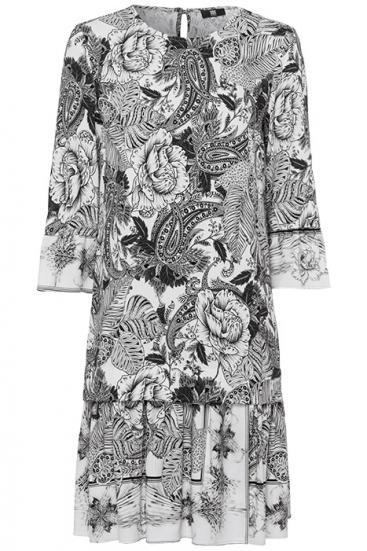 Damen Kleid mit Blumenmuster Weiss/Schwarz