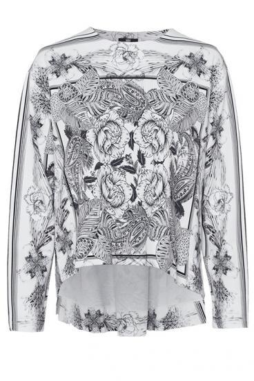 Damen Sweatshirt mit Blumenmuster Weiss/Schwarz