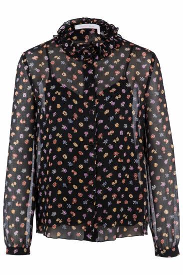 transparente Damen Bluse mit Blumen Schwarz