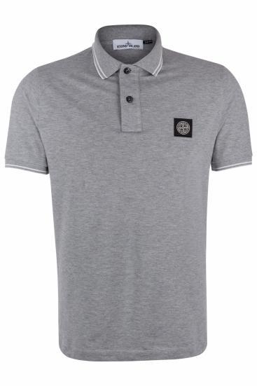 Herren Piqué Poloshirt Grau meliert