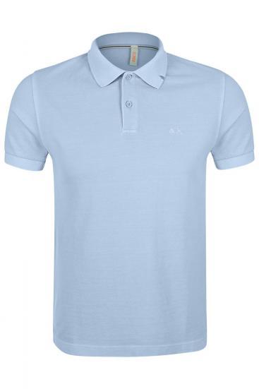 Herren Poloshirt Cold Dye Azzurro