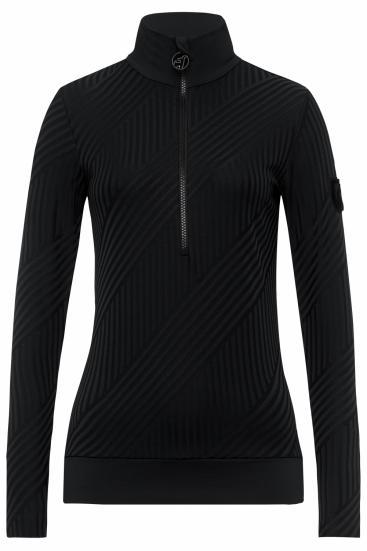Damen Skishirt Wieka Stripe Schwarz