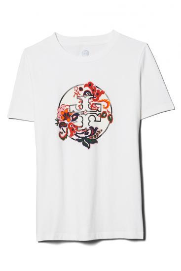 Damen Paisley Logo T-Shirt Weiss