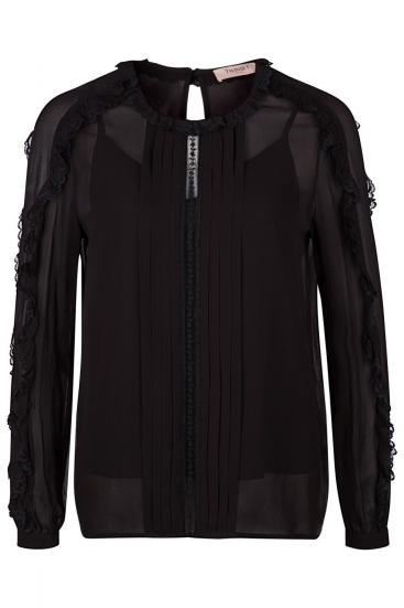 Damen Bluse mit Spitzendetails Schwarz