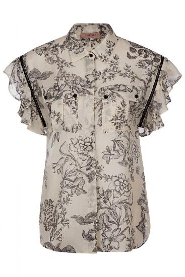 Damen Bluse mit Volants St Black Toile