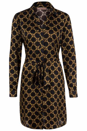 Damen Blusenkleid mit Kettendesign Schwarz