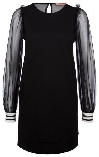 Damen Jerseykleid mit transparenten Ärmeln Schwarz