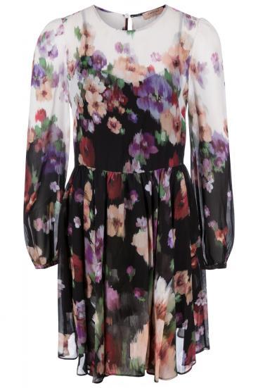Damen Kleid mit Blumenprint Schwarz