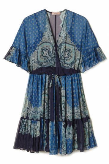 Damen Kleid mit Paisleyprint Blau