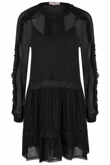 Damen Kleid mit Spitzendetails Schwarz