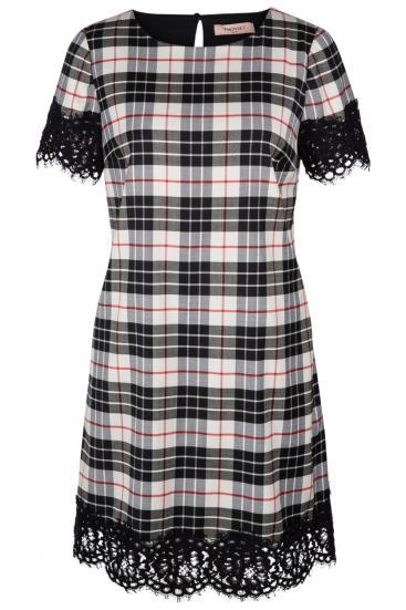 Damen Kleid mit Spitzendetails Creme/Schwarz