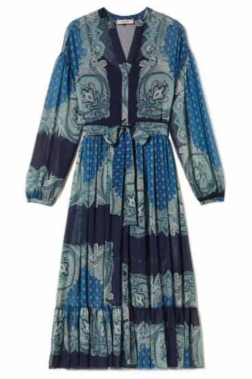 Damen Maxikleid mit Paisleyprint Blau