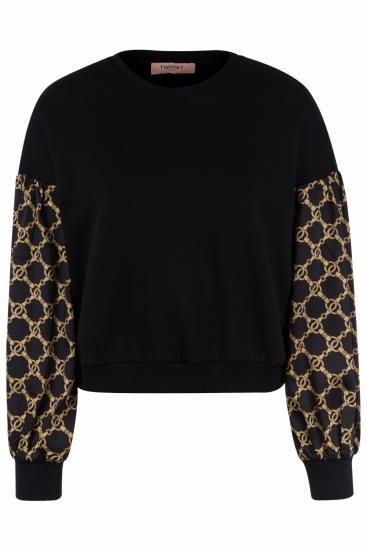 Damen Pullover mit Kettendesign Schwarz