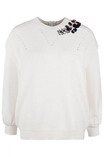 Damen Pullover mit Strickeinsatz Bianco Seta