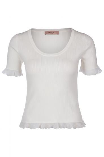 Damen Shirt mit Rüschen Creme