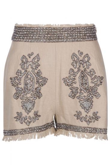 Damen Shorts aus Leinen Camel
