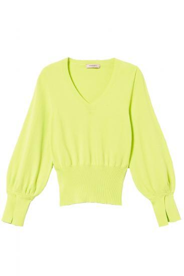 Damen Strickpullover Neongrün