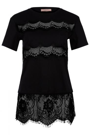 Damen T-Shirt mit Spitzenbesatz Schwarz