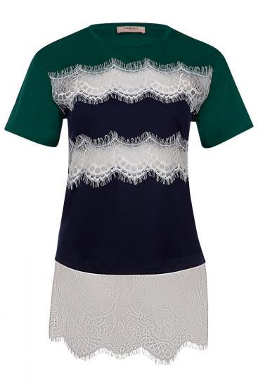 Damen T-Shirt mit Spitzenbesatz Grün/Blau