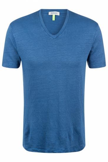 Herren T-Shirt aus Leinen Blau