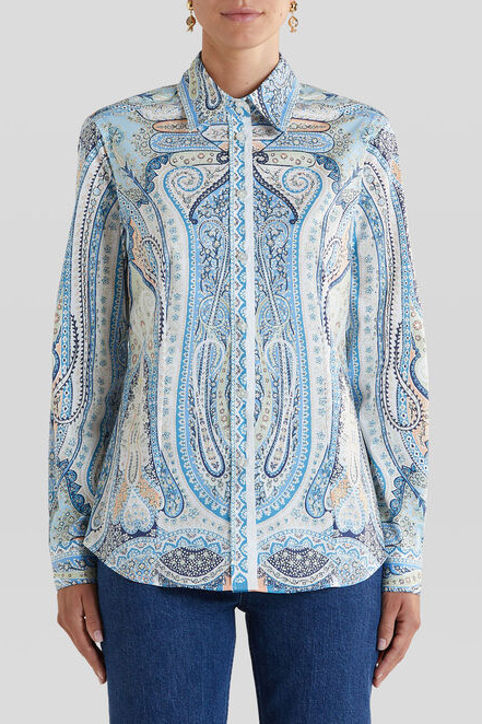 Etro Damen Bluse mit Print Blau 2