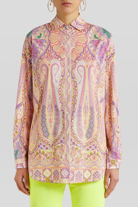 Etro Damen Bluse mit Print Pink 2