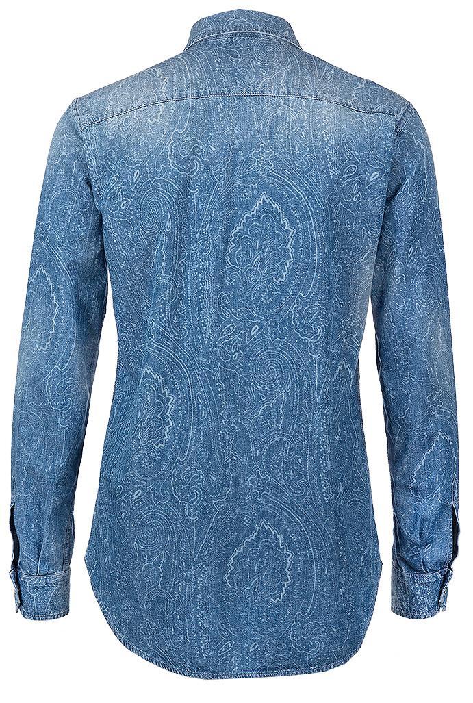 Etro Damen Jeansbluse mit Paisleyprint Blau 2