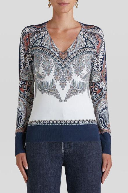 Etro Damen Pullover mit Paisleymuster Marineblau/Weiss 2