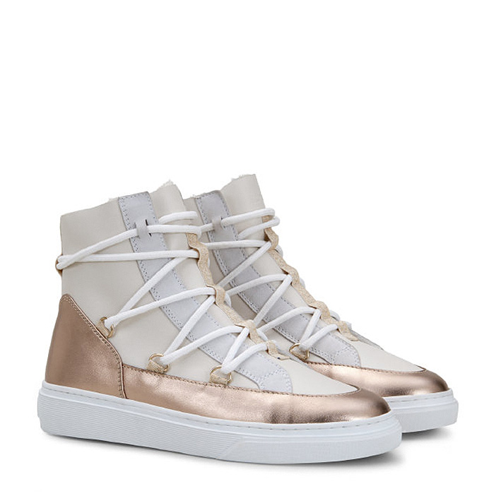Hogan Damen Hightop Sneaker H342 Weiss/Bronze 2