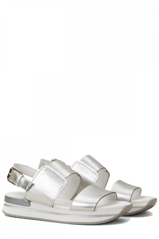 Hogan Damen Plateau Sandale H257 Silber 2