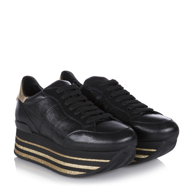 Hogan Damen Plateau Sneaker H368 Maxi Schwarz 2