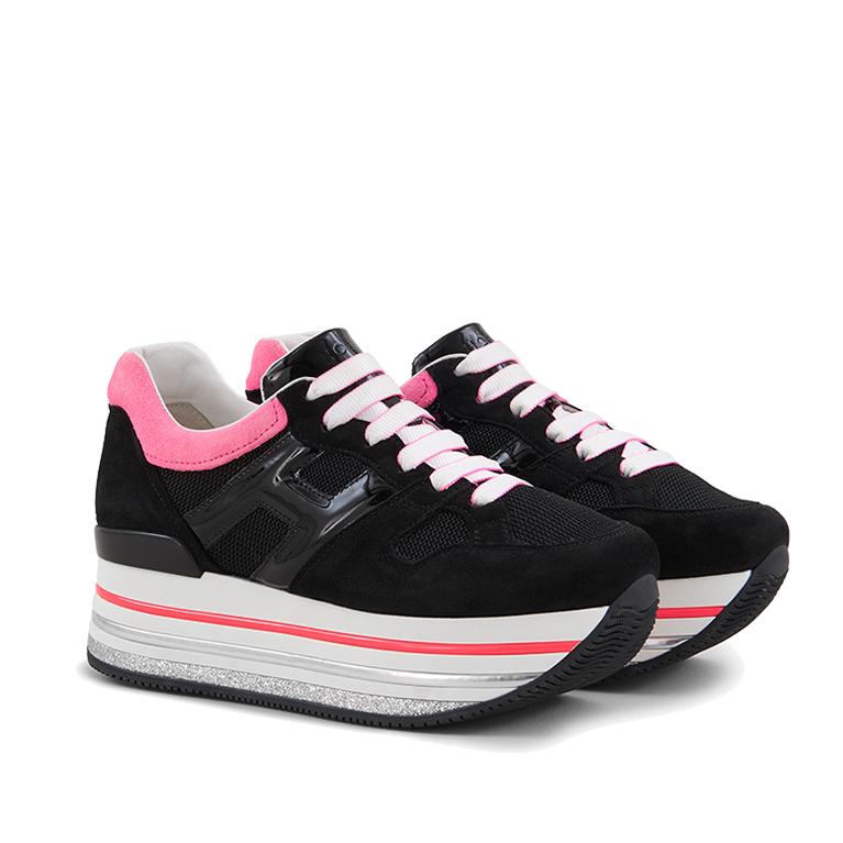 Hogan Damen Plateau Sneaker H422 Schwarz 2