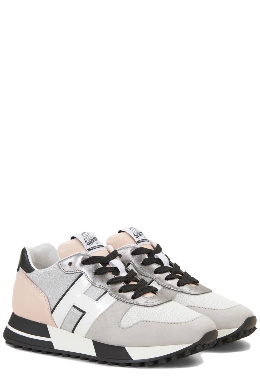 Hogan Damen Sneaker H383 Allacciato Pelle Grau 2