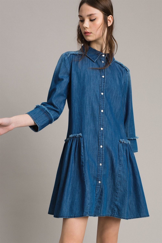 My Twin Damen Jeanskleid Denim Blau 2